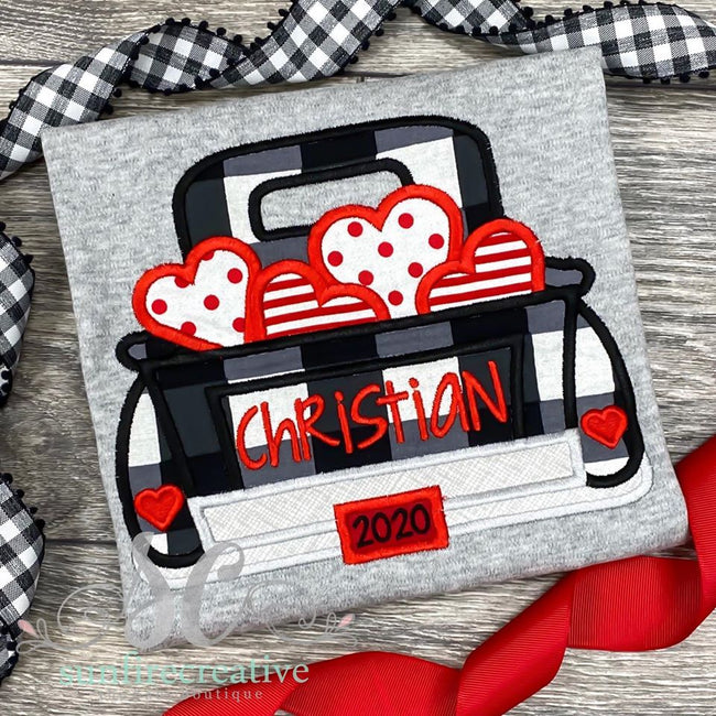 Buffalo Plaid Valentine Truck - Sunfire Creative Baby Boutique