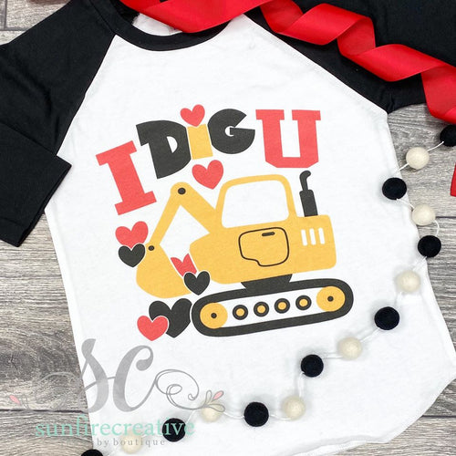 I dig You Black Raglan - Matching Adult & Kid - DTG
