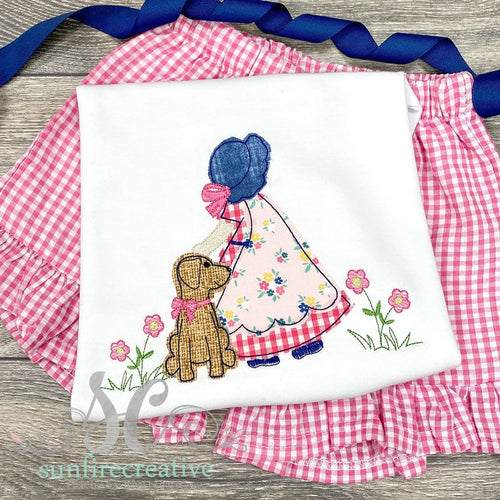 Bonnet Girl with Puppy Top - Summer Outfit