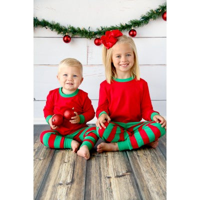 Red & Green Striped Christmas Pajamas
