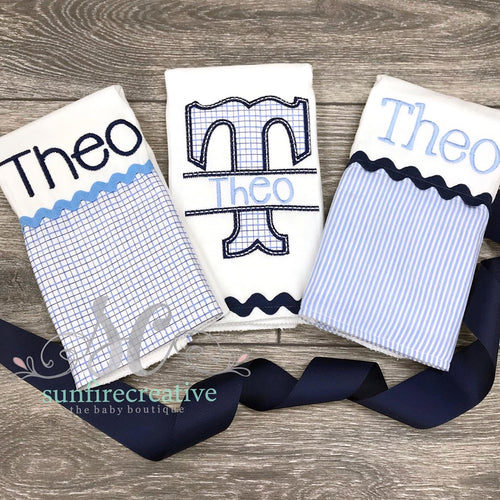Boys Burp Cloth Set - Boy's Personalized Burp Cloths