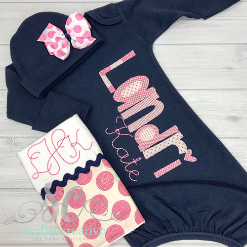 Navy and Pink Baby Gown