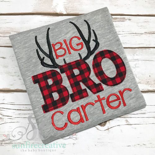 Big Bro Shirt - Buffalo Plaid and Antlers