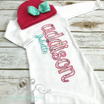 White Footed Sleeper, Gown or Onesie with Hot Pink Stitching