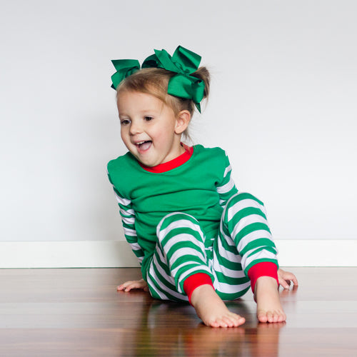 Green & White Striped Christmas Pajamas - PREORDER