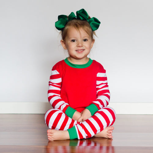 Red & White Striped Christmas Pajamas