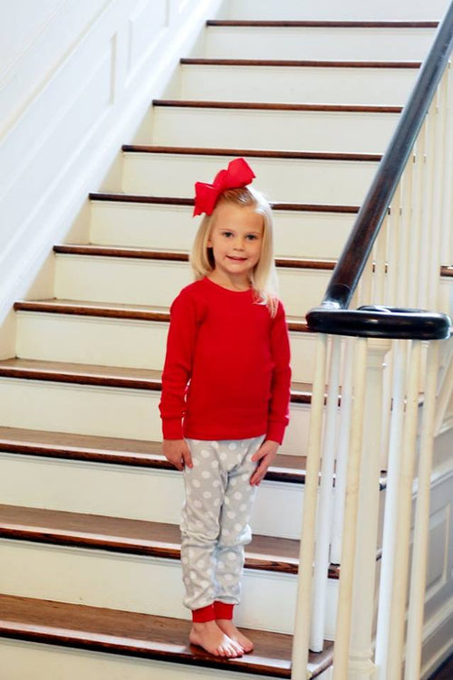 Gray & Red Polka Dot Christmas Pajamas