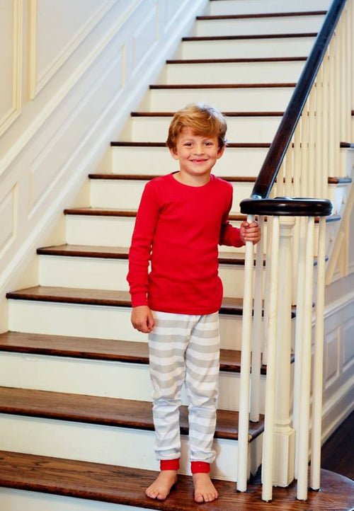 Gray & Red Striped Christmas Pajamas