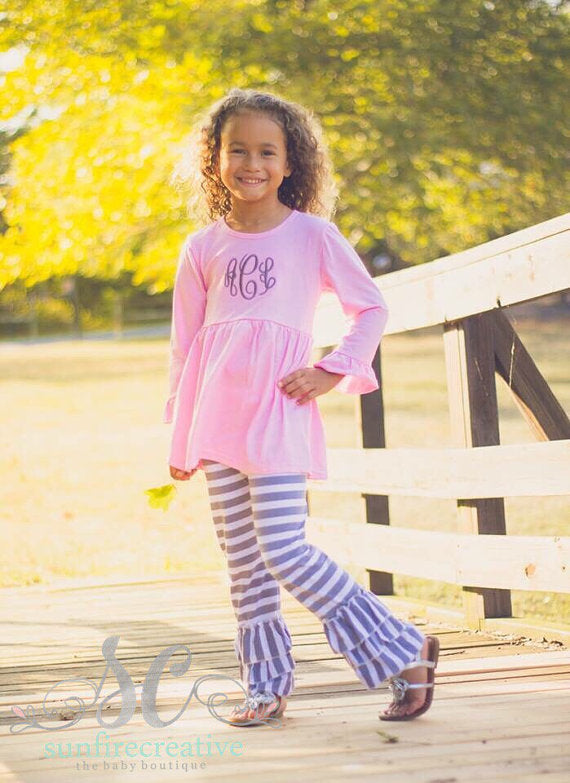 Pink and Gray Ruffle Pants Set - Sunfire Creative Baby Boutique