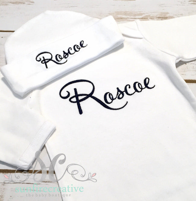 Baby Boy Coming Home Outfit - Monogrammed Outfit - Sunfire Creative Baby Boutique