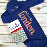 Baby Boy Coming Home Outfit - Little Brother Gown - Royal Blue Baby Gown - Sunfire Creative Baby Boutique
