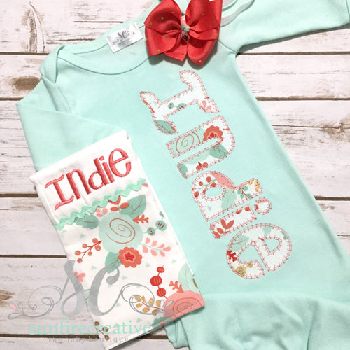 Mint Baby Coming Home Outfit - Newborn Gown with Bow