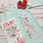 Mint Baby Coming Home Outfit - Newborn Gown with Bow - Sunfire Creative Baby Boutique