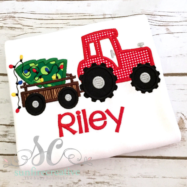 Boys Christmas Shirt - Christmas Tree Shirt with Tractor - Sunfire Creative Baby Boutique