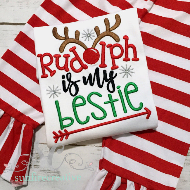 Christmas Shirt for Girl - Girl Christmas Outfit - Rudolph is my Bestie Shirt