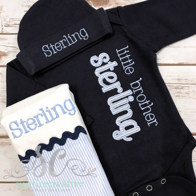 Baby Boy Coming Home Outfit - Navy Little Brother Gown - Sunfire Creative Baby Boutique
