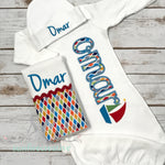 Baby Boy Coming Home Outfit - Newborn Sleeper - Sailboat Sleeper - Sunfire Creative Baby Boutique