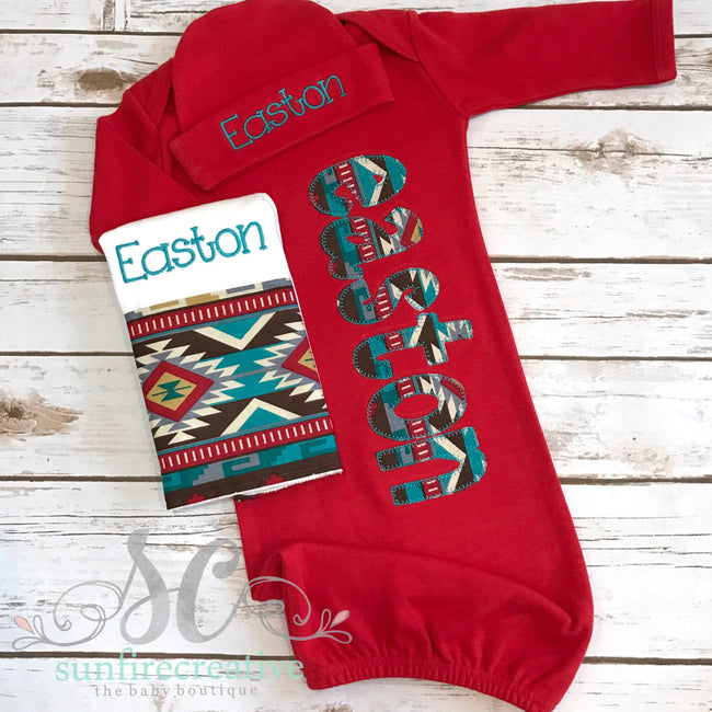 Aztec Baby Outfit - Tribal Baby Boy Coming Home Outfit