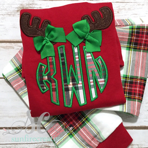 Christmas Plaid Pajamas - Monogrammed Antlers with Bows