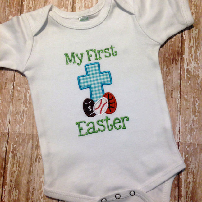 Baby Boy Easter Shirt with Cross - Sunfire Creative Baby Boutique