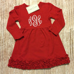 Red Monogrammed Dress - Sunfire Creative Baby Boutique