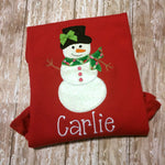Snowman Christmas Shirt - Girls Snowman Shirt