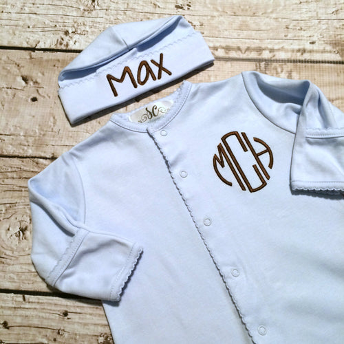 Baby Boy Outfit Footy Sleeper Hat Blanket Monogram