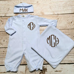 Monogram Coming Home Baby Boy Converter Gown Elephant - Sunfire Creative Baby Boutique