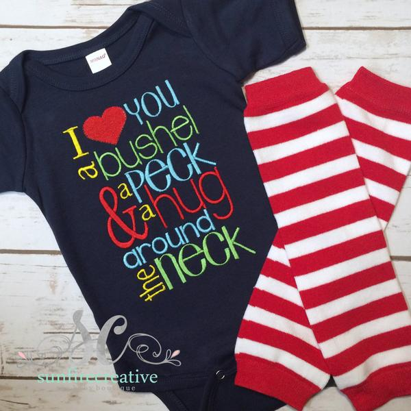 Boys Outfit - I love you a bushel and a peck - Baby Shower Gift - Sunfire Creative Baby Boutique