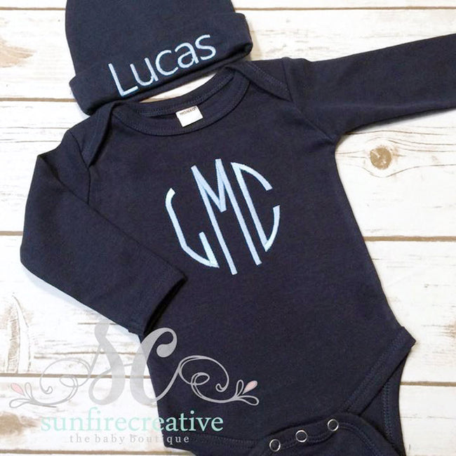 Navy Baby Boy Bodysuit - Newborn Coming Home Outfit - Sunfire Creative Baby Boutique