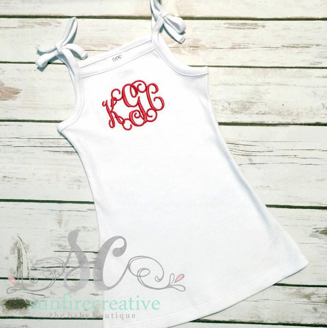 Girl White Tie Top Dress Swimsuit Cover Up Monogram - Sunfire Creative Baby Boutique