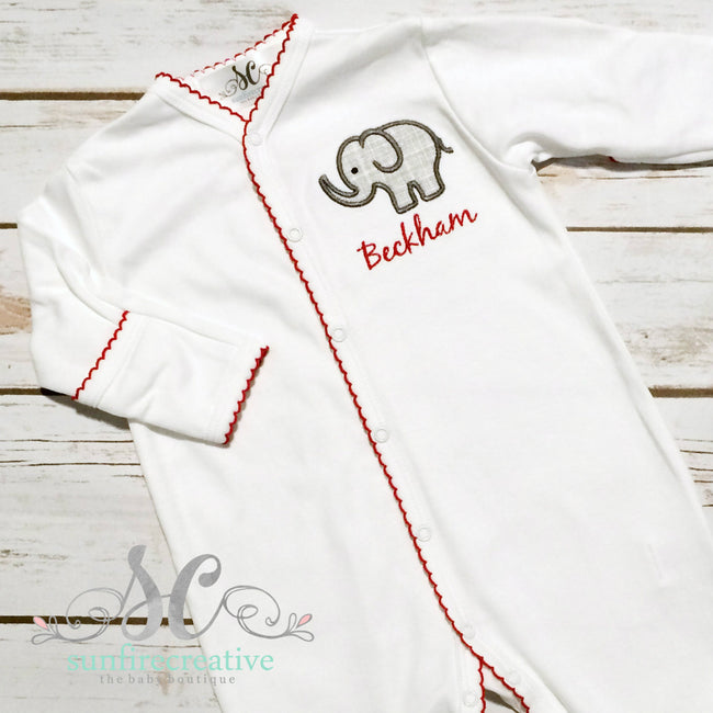 Baby Boy Coming Home Outfit - Elephant Footed Sleeper - Sunfire Creative Baby Boutique