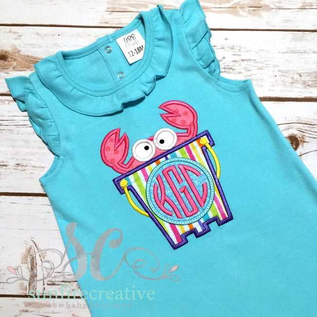Girl Beach Clothes - Crab Romper - Sunfire Creative Baby Boutique