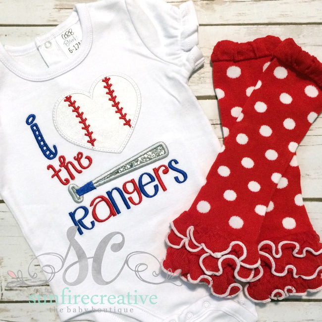 Girl Baseball Shirt - I love the Rangers with Leg Warmers - Sunfire Creative Baby Boutique