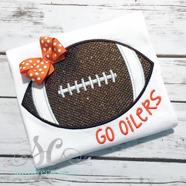 Girl Football Shirt with Bow (Choose Your Team & Colors)