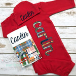 Baby Boy Coming Home Outfit - Plaid Boy Sleeper - Sunfire Creative Baby Boutique