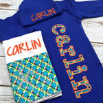 Baby Boy Coming Home Outfit - Blue Newborn Sleeper - Sunfire Creative Baby Boutique