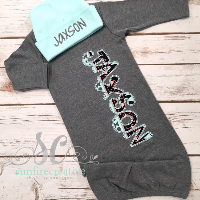 Gray Baby Boy Coming Home Outfit - Newborn Sleeper
