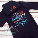 For this little Boy we have Prayed Baby Boy Gown Navy - Christian Baby Shower Gift