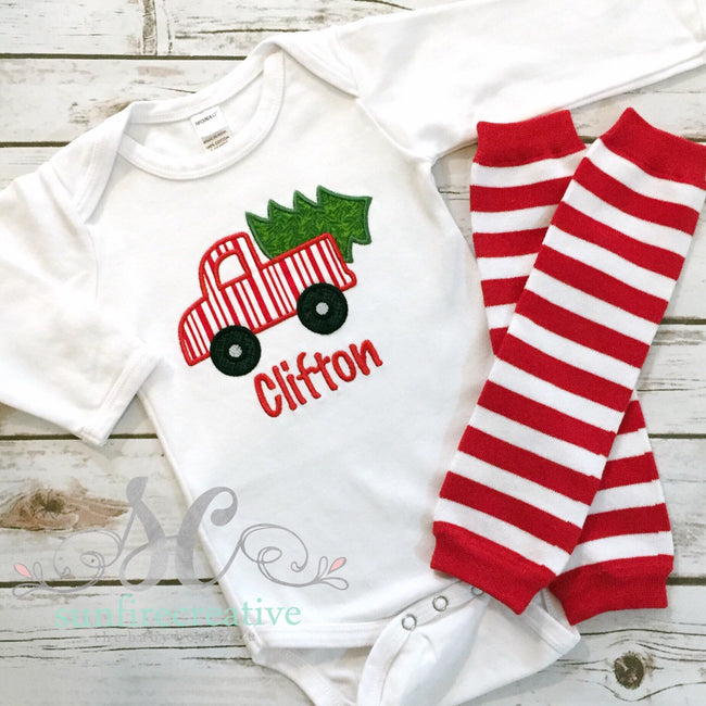 Boys Christmas Truck Shirt with Tree - Sunfire Creative Baby Boutique