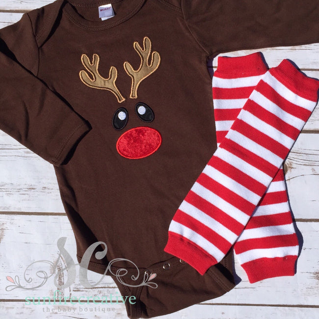 Boys Rudolph Christmas Outfit - Reindeer Shirt - Sunfire Creative Baby Boutique