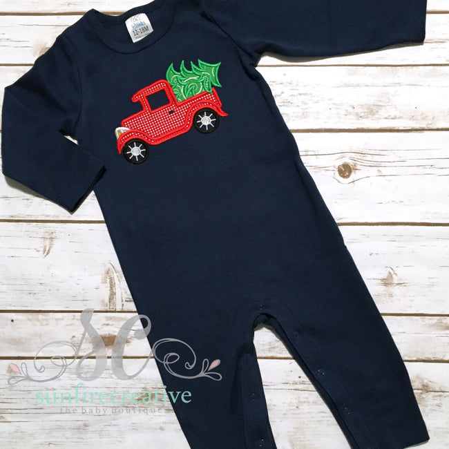 Boy's Christmas Romper - Christmas Truck Outfit - Sunfire Creative Baby Boutique