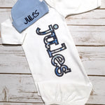 Baby Boy Coming Home Outfit - Name Gown - Sunfire Creative Baby Boutique