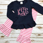 Girl's Monogram Shirt and Ruffle Pants - Pink Navy Outfit - Sunfire Creative Baby Boutique