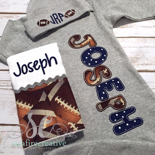 Baby Boy Coming Home Outfit - Name Gown - Football Outfit
