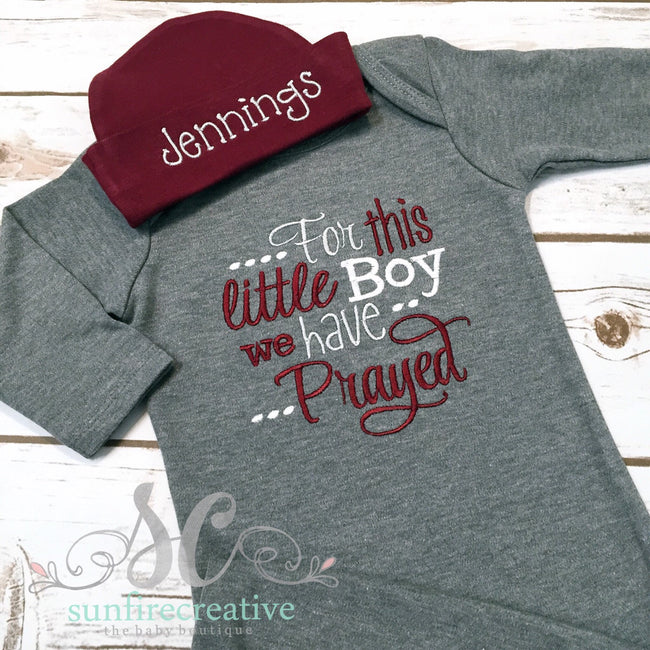 For this little Boy we have Prayed Baby Boy Gown Maroon & Gray - Sunfire Creative Baby Boutique