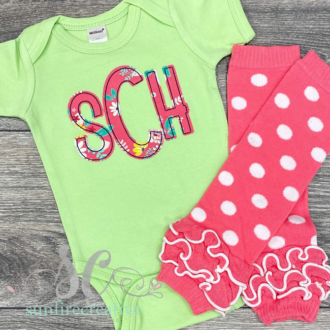Lime Green Monogrammed Onesie or shirt - Sunfire Creative Baby Boutique
