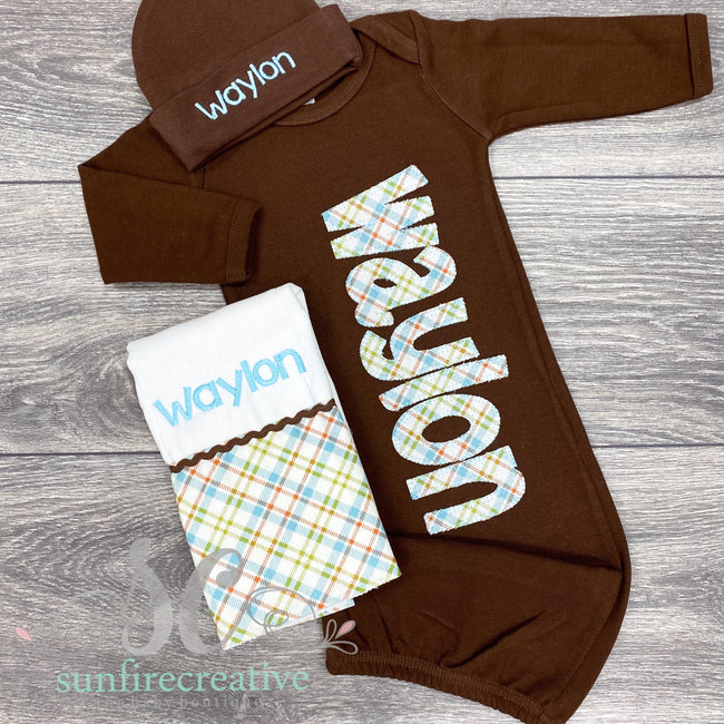 Brown Baby Gown - Personalized Baby Gown - Sunfire Creative Baby Boutique