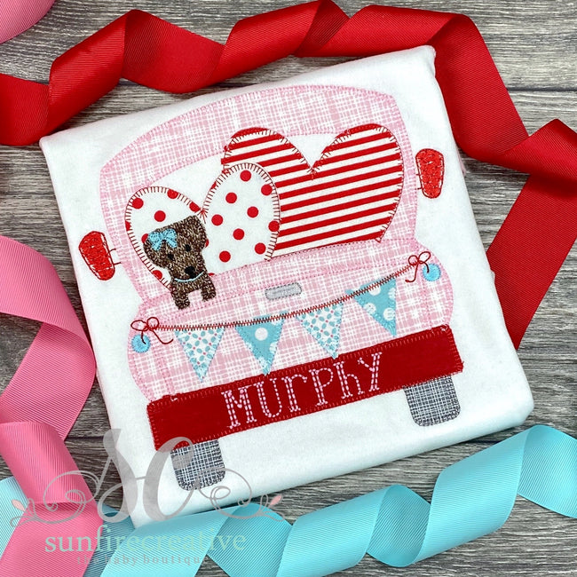 Valentine Truck with Dog - Sunfire Creative Baby Boutique