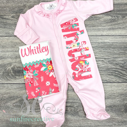 Pink Floral Footed Sleeper